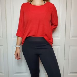 Lily White Red Long Sleeve Blouse